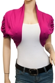 Jr Plus size Ruched Open Front Cropped Bolero Shrug Pink