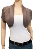 Jr Plus Size Open Front Cropped Bolero Shrug Mocha