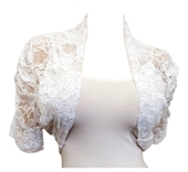 Plus Size Floral Lace Bolero Shrug White