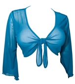 Plus Size Sexy Teal Sheer Front Tie Bolero Shrug