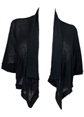 Plus Size Shawl Collar Striped Cropped Cardigan Black