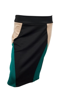 Plus Size Color Block Skirt Teal