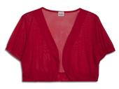 Plus Size Sheer Cropped Bolero Shrug Red