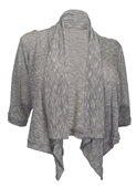 Plus Size Shawl Collar Striped Cropped Cardigan Gray