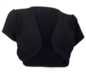 Plus size Open Front Cropped Short Sleeve Bolero Black