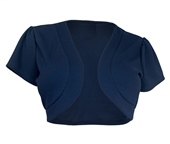 Plus size Open Front Short Sleeve Bolero Navy