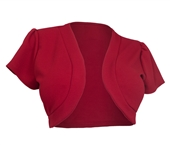 Plus size Open Front Short Sleeve Bolero Red