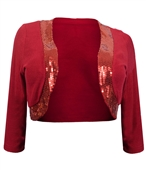 Womens' Sequin Trim 3/4 Sleeve Cropped Bolero Shrug Red