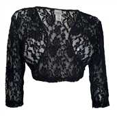 Women's Open Front Sheer Lace Bolero Shrug Black