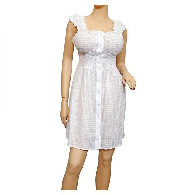 Plus size Sheer Button Front Babydoll Cotton Dress White Photo 1