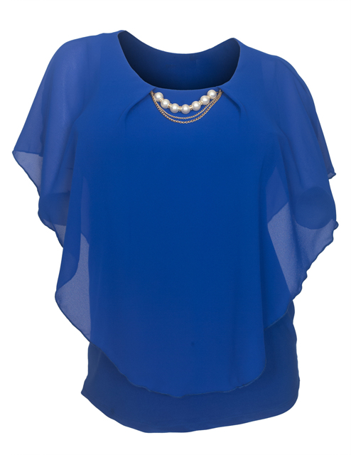 Plus Size Layered Poncho Top Pearl Pendant Royal Blue 18927 Photo 1