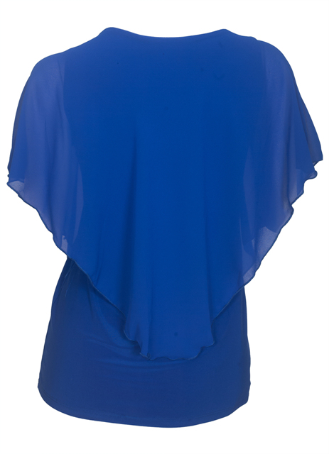 Plus Size Layered Poncho Top Pearl Pendant Royal Blue 18927 Photo 2