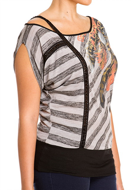 Plus Size Designer Print Off Shoulder Top Gray Photo 3