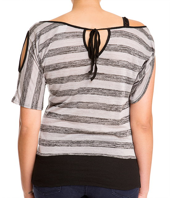 Plus Size Designer Print Off Shoulder Top Gray Photo 4