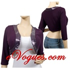 SEXY PURPLE SEQUIN BOLERO CROP SHRUG PLUS SIZE TOP