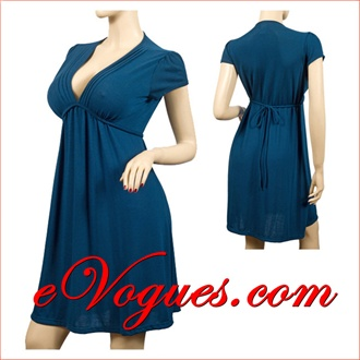 Teal Low Cut V-Neck Empire Waist Plus Size Dress | eVogues ...