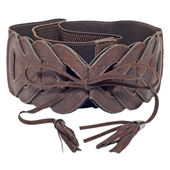 Plus Size Braided Look Elastic Fashion Belt Brown