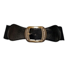 Plus Size Rhinestone Studded Burnished Buckle Elastic Belt Black