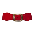 Plus Size Rhinestone Studded Burnished Buckle Elastic Belt Red