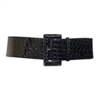 Plus Size Croco Print Patent Leather Belt Black