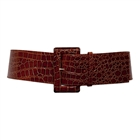 Plus Size Croco Print Patent Leather Belt Brown