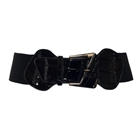 Plus Size Leatherette Elastic Fashion Belt Black