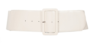 Plus Size Wide Patent Leather Fashion Belt White