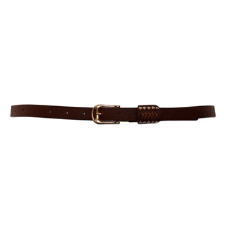 Plus Size Metal Stud Detailed Gold Buckle Skinny Belt Brown