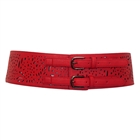 Plus Size Vintage Faux Leather Wide Elastic Belt Red