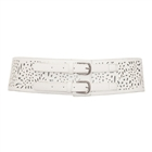 Plus Size Vintage Faux Leather Wide Elastic Belt White
