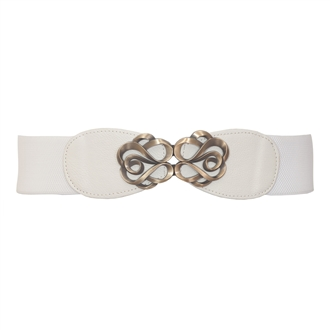 Plus size Antique Brass Look Elastic Cinch Belt White