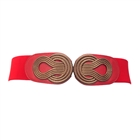 Plus size Wide Metal Interlock Buckle Elastic Cinch Belt Red