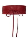 Plus size Faux Leather Obi Waistband Sash Belt Red