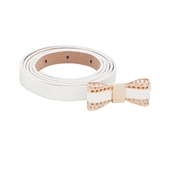 Plus Size Butterfly Buckle Patent Faux Leather Skinny Belt White