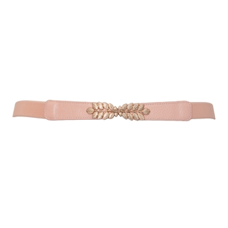 Plus size Leaf Interlocking Buckle Elastic Belt Pink