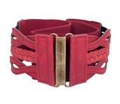 Women's Braided Elastic Leatherette Fashion Belt Wine