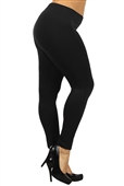 Women's Plus Size Soft Full Length Seamless Basic Leggings Black