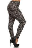 Women's Plus Size Soft Full Length Printed Leggings Multi 1723A