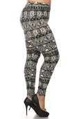 Women's Plus Size Soft Full Length Printed Leggings Multi 1723B