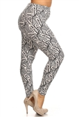 Women's Plus Size Soft Full Length Printed Leggings Multi 17227A