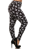 Women's Plus Size Soft Full Length Printed Leggings Multi 17227C