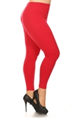Women's Plus Size Soft Full Length Seamless Basic Leggings Red