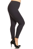 Women's Plus Size Soft Full Length Seamless Basic Leggings Charcoal Gray