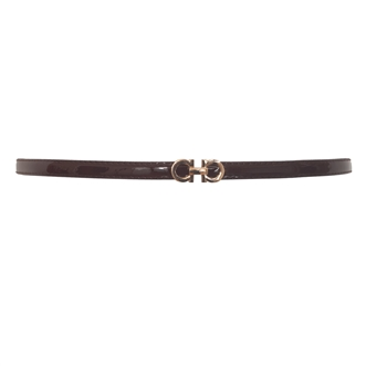 Plus size Adjustable Patent Leather Skinny Belt Brown