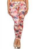 Women's Plus Size Soft Full Length Printed Leggings Multi 17312E