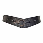 Plus Size Hook Buckle Faux Leather Wide Elastic Belt Black