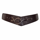 Plus Size Hook Buckle Faux Leather Wide Elastic Belt Dark Brown