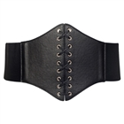 Plus size Faux Leather Corset Style Wide Elastic Belt Black