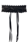 Plus size Faux Leather Obi Waistband Sash Belt Lace Detail Black