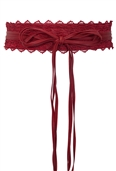 Plus size Faux Leather Obi Waistband Sash Belt Lace Detail Red